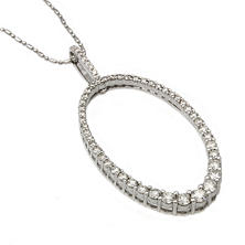 1.50 CT. T.W. Diamond Graduated Oval Hoop Pendant in 14K White Gold (I, I1)