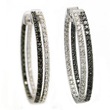 2.00 CT. T.W. Black and White Diamond Inside-Out Hoop Earrings in 14K White Gold (I & Black, I1)