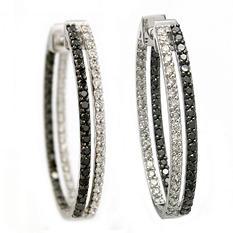 2.00 CT. T.W. Black and White Diamond Inside-Out Hoop Earrings in 14K White Gold (I & Black, I1)