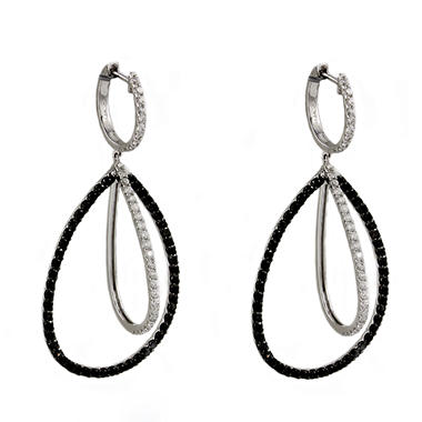 2.20 CT. T.W. Black and White Diamond Drop Earrings in 14K White Gold (Black & I, I1)