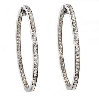 2.50 CT. T.W. Diamond Inside-Out Hoop Earrings in 14K White Gold (I, I1)