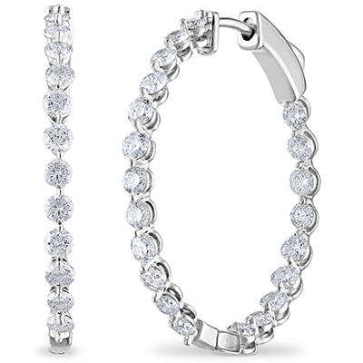 2.45 CT. TW. Diamond Hoop Earrings in 14K White Gold (H-I, I1)