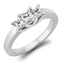 .46 CT. T.W. Princess-Cut Diamond 3-Stone Ring in 14K White or Yellow Gold (H-I, VS2)