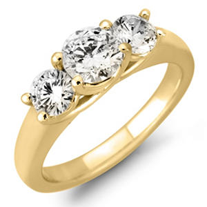 1.45 CT. T.W. Round Diamond 3-Stone Ring in 14K White or Yellow Gold (I, I1)