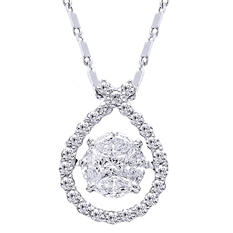 0.50 CT. TW. Dancing Stone Pendant in 14K White Gold (IGI Appraisal Value: $885)
