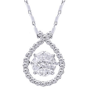 0.50 CT. TW. Dancing Stone Pendant in 14K White Gold (IGI Appraisal Value: $885)