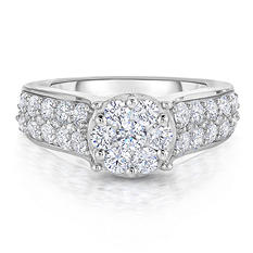 1.70 CT. T.W. Round Diamond Ring in 14K White Gold ( HI,I1)
