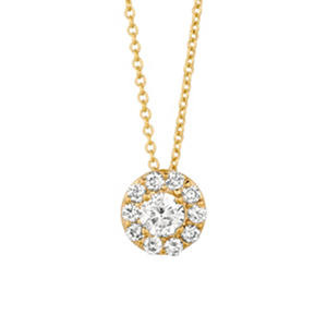 Round-Cut Diamond (.25 ct. t.w.) Halo Pendant 14K Yellow Gold (I, I1)