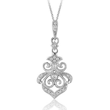 0.12 ct. t.w. Vintage-Style Diamond Pendant in Stering Silver (H-I, I1)