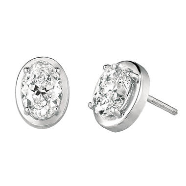 1.16 CT.TW. Oval-Cut Diamond Stud Earrings set in 14K White Gold (H-I, SI2)