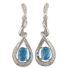 Blue Topaz and Diamond Accent Earrings in 14K White Gold