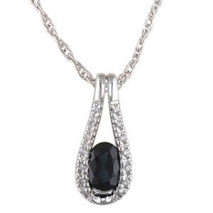 Sapphire and Diamond Accent Pendant in 14K White Gold