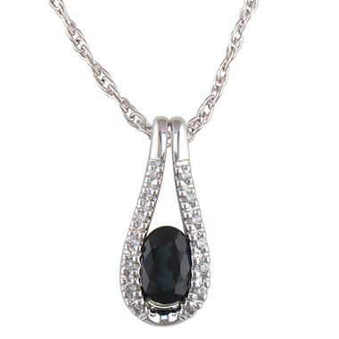 Sapphire and Diamond Accent Pendant in 14K White Gold