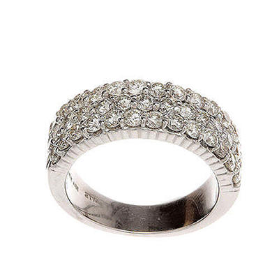 1.95 ct. t.w.3-Row Diamond Wide Band Ring in 14k White Gold (H-I, I1)