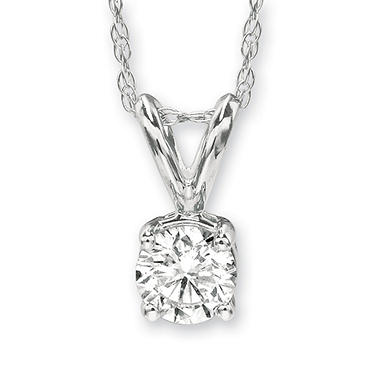 .49 ct. Round-Cut Solitaire Pendant in 18K White Gold (I, VS1)