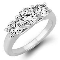1.95 CT. T.W. Round Diamond 3-Stone Ring in 14K White or Yellow gold (H-I, VS2)