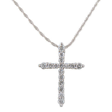 0.20 ct. t.w. Diamond Cross Pendant in 14K White Gold (H-I, I1)