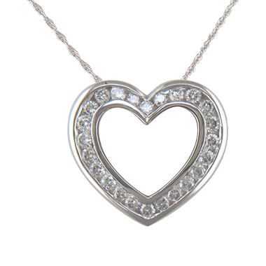 0.20 ct. t.w. Diamond Heart Pendant in 14K White Gold (H-I, I1)