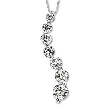 1 ct. t.w. Diamond Journey Pendant in 14K White Gold (I, I1)
