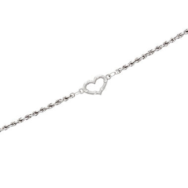 "9"" Open Heart Ankle Bracelet in 14K White Gold"