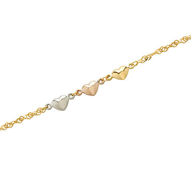 "Adjustable 9-10"" Ankle Bracelet in Sterling Silver and 14K Yellow Gold with Tricolor Heart Accent"