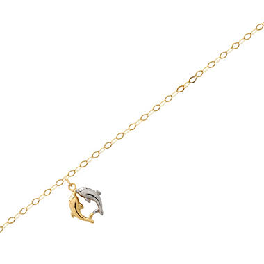 "10"" Link Ankle Bracelet in 14K Yellow Gold with Dolphins"