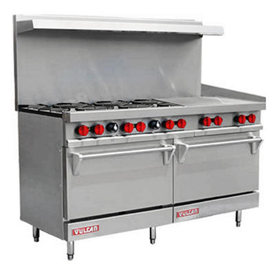 "Vulcan V60F-2 60"" Propane Gas 6 Burner Range with 24"" Griddle and 2 Ovens"