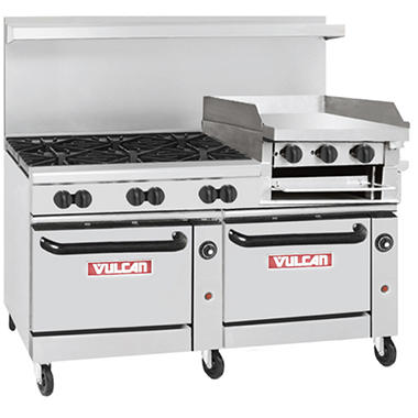 "Vulcan 60-SS-6B-24GB-N 60"" Natural Gas Range w/6 Burners, 2 Ovens and a Griddle/Broiler"