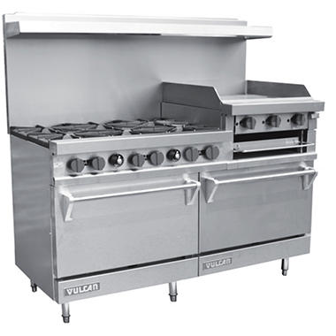"Vulcan V260N 60"" Natural Gas Range with 6 Burners 2 Ovens and 24"" Griddle/Broiler"