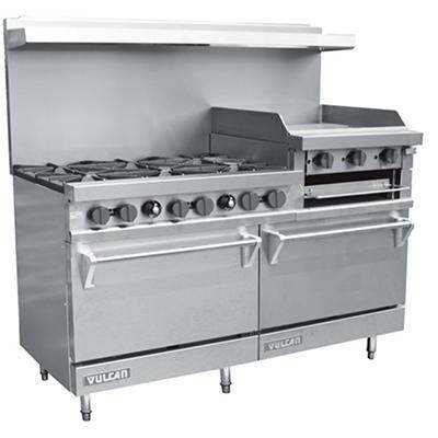"Vulcan V260N 60"" Natural Gas Range with 6 Burners 2 Ovens and 24"" Griddle/Broiler"
