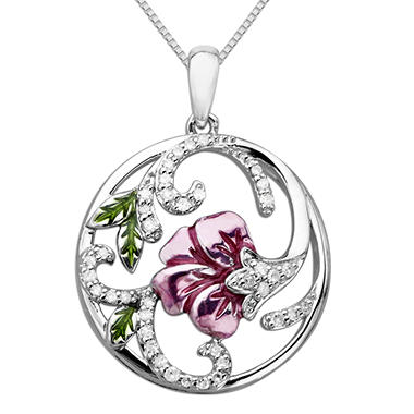 0.19 CT. T.W. Diamond Floral Pendant in Sterling Silver (H-I, I1)