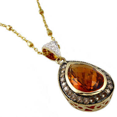 Madeira Citrine, Brown and White Diamond Pendant in 14K Yellow Gold (Brown & H-I, I1)