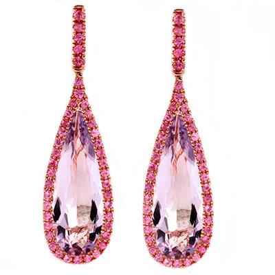 Pink Amethyst and Pink Sapphire Teardrop Drop Earrings in 14K Pink Gold