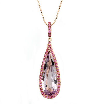 Pink Amethyst and Pink Sapphire Teardrop Drop Pedant in 14K Pink Gold