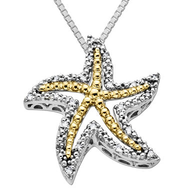 Diamond Accent Starfish Pendant in 14K Yellow Gold and Sterling Silver