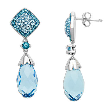 Blue Briolet Crystal Earrings in Sterling Silver