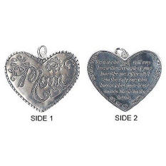 Sterling Silver Engraved Mom Heart Pendant