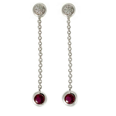 .70 ct. t.w. Ruby and Diamond Color Strand Earrings