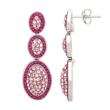 Triple Oval Pink Crystal Drop Earrings in Sterling Silver