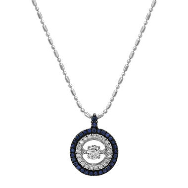 Sapphire and Diamond Necklace in 14K White Gold