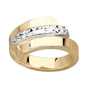 14K Gold Two-Tone Italian Bypass Ring