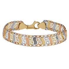 Tri-Tone Gold Link Bracelet in 14K Gold