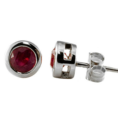 4mm Round Ruby Bezel Set Stud Earrings