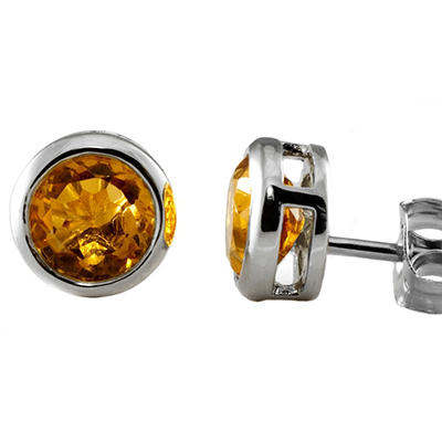 5mm Round Citrine Bezel Set Studs