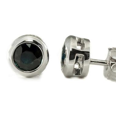 4mm Round Blue Sapphire Bezel Set Studs