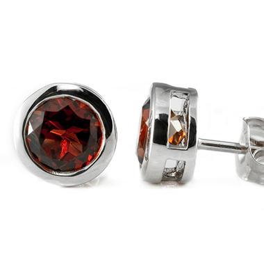 5mm Round Garnet Bezel Set Studs