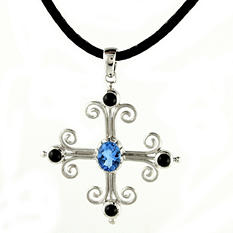 Swiss Blue Topaz and Black Onyx Pendant in Sterling Silver