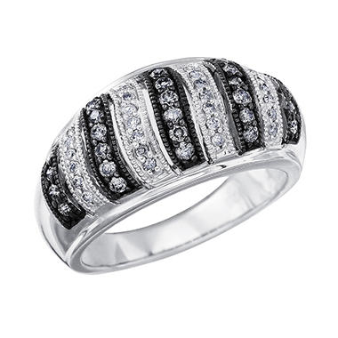 0.50 ct. t.w. Stripe-Patterned Diamond Ring in Sterling Silver & Rhodium (I & Silvermist, I1)