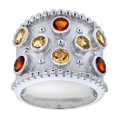 Citrine and Mederia Citrine Ring in Sterling Silver