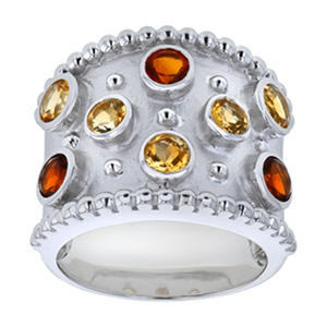 Citrine and Mederia Citrine Ring in Sterling Silver